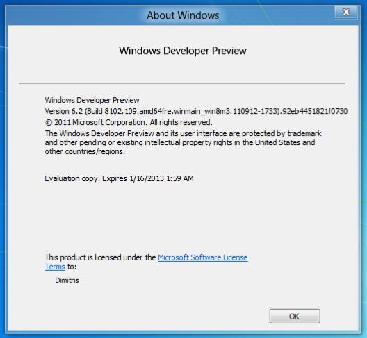 About Windows 8 DP