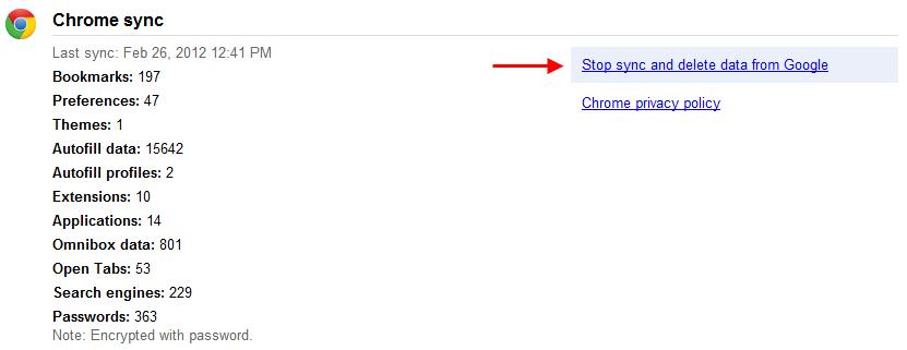 Stop Chrome sync