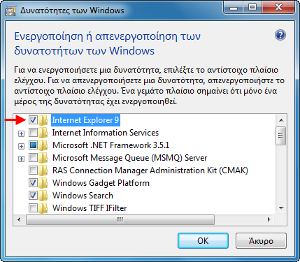 Windows Featrure Internet Explorer