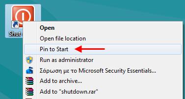 pin to start shortcut