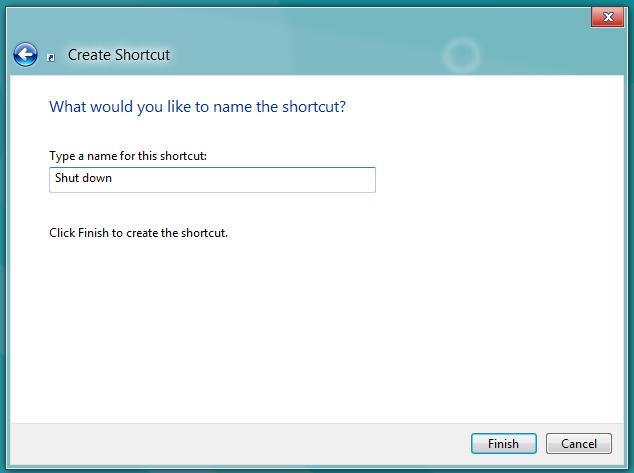 shut down shortcut