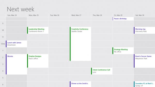 Windows 8, αναβάθμιση για Mail, Calendar και People apps