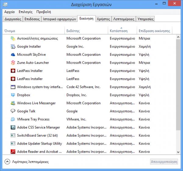 Windows 8, απενεργοποίηση εφαρμογών από την εκκίνηση του υπολογιστή