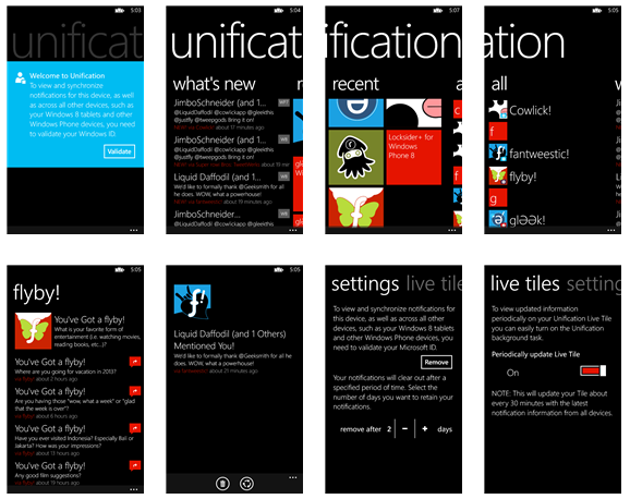 Unification app, notificaton center άτυπα για Windows 8, Windows Phone 8