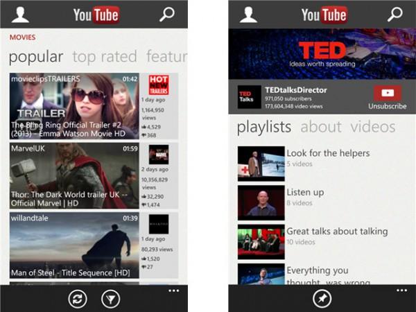 Νέο YouTube app για Windows Phones 8 – 7.5, όμορφο και δωρεάν
