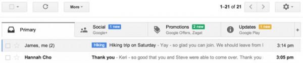 Νέο Gmail inbox με κατηγορίες για πιο εύκολη οργάνωση e-mails