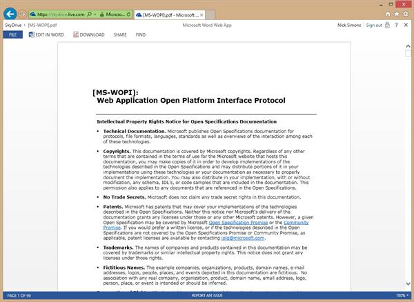Office Web Apps, υποστήριξη για ανάγνωση και επεξεργασία PDF αρχείων