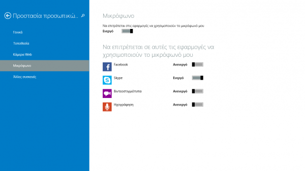 Windows 8.1, επέλεξε τις εφαρμογές που θα χρησιμοποιούν μικρόφωνο και webcam