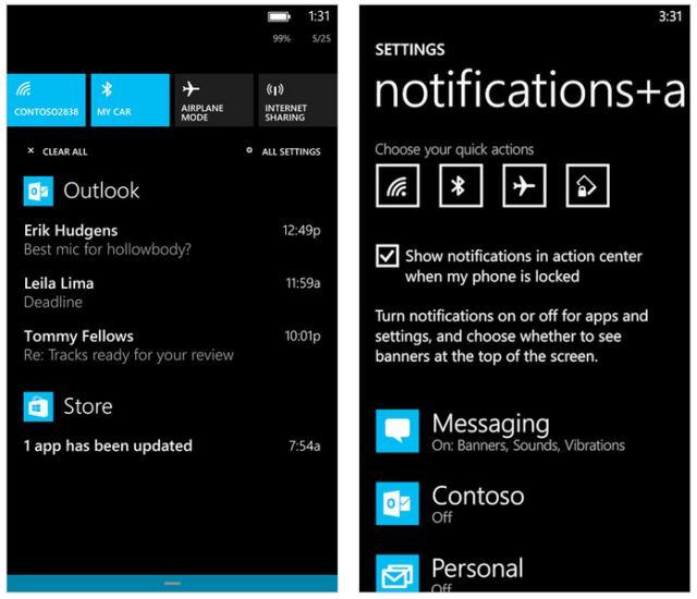 Windows Phone 8.1, επιτέλους αποκτούν notification center για ειδοποιήσεις όπως πρέπει