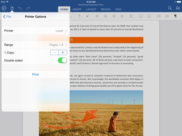 Office for iPad, update με δυνατότητα εκτύπωσης μέσω AirPrint