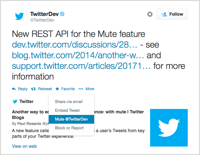 Twitter με επιλογή Mute, πιο ήσυχο timeline χωρίς ενοχλητικά tweets