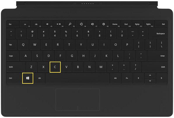 Άνοιγμα των Charms στα Windows 8/8.1