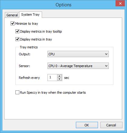 Speccy, εμφάνιση θερμοκρασίας υπολογιστή στη γραμμή εργασιών
