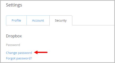Αλλαγή κωδικού πρόσβασης στο Dropbox