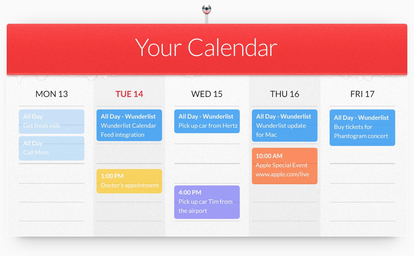 Wunderlist, συγχρονισμός με το Google Calendar