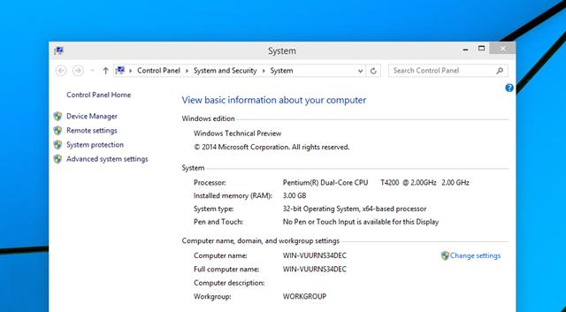Απαιτήσεις συστήματος για Windows 10 Technical Preview