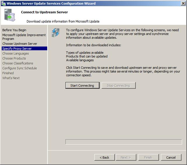 Ρυθμίζοντας τον WSUS με το Configuration Wizard στον Server 2008 R2