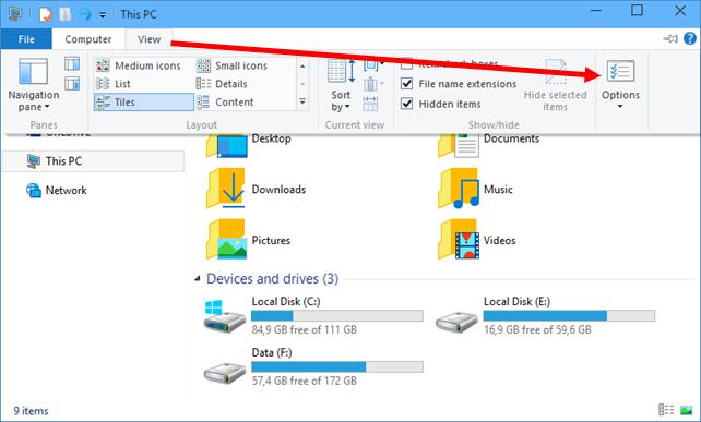 Άνοιγμα του This PC στον File Explorer των Windows 10 build 9926