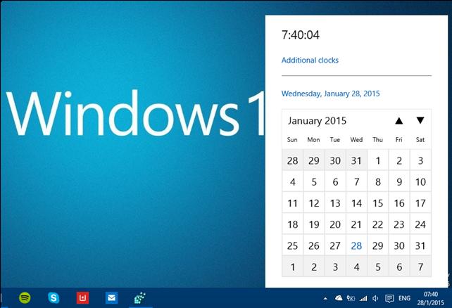 Η εμφάνιση του ρολογιού αρχίζει να αλλάζει στα Windows 10 build 9926
