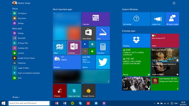 Δοκιμάζοντας τα Windows 10: Tablet mode (Continuum)
