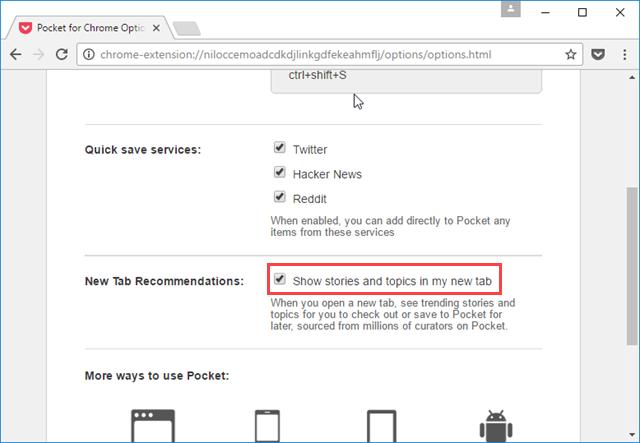 Pocket, απενεργοποίηση προτεινόμενων άρθρων στον Chrome