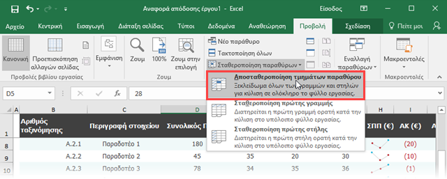 Excel, πώς να κρατήσετε σταθερή την πρώτη γραμμή και στήλη