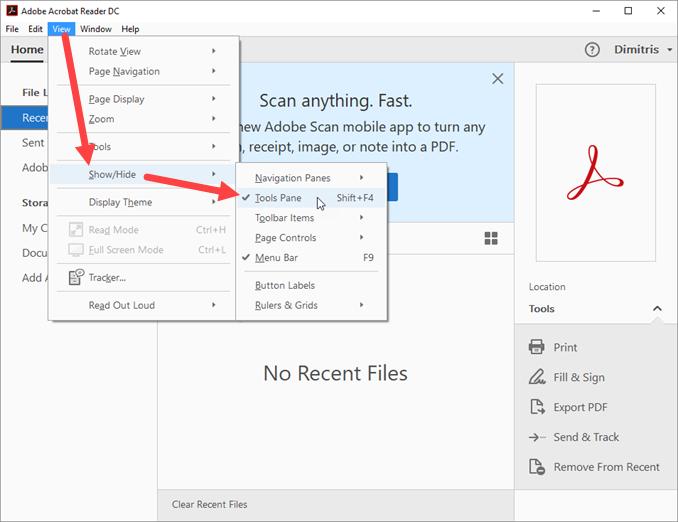 Απόκρυψη sidebar στον Adobe Reader