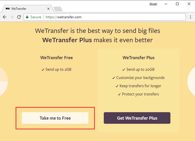 Αποστολή μεγάλων αρχείων έως 2 GB μέσω WeTransfer